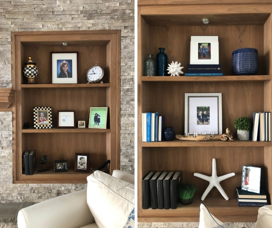 styling a bookcase, shelving ideas, how to style a bookcase, fireplace mantel ideas