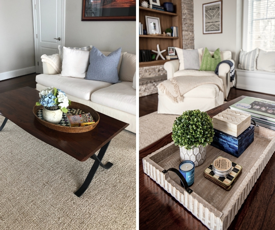 before and after of a wood live edge coffee table styled with a weathered wood serving tray and books, candle, plants, and decorative boxes, styling bookcases ideas