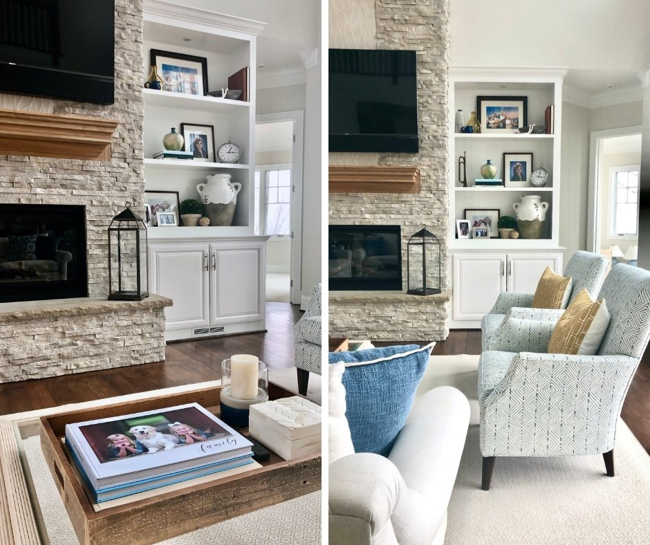 styling bookcases and shelves in a two story living room