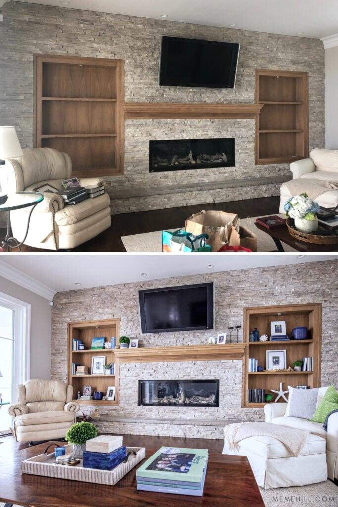 stacked stone fireplace, wood shelves< wood mantel, styling bookcases, narrow shelves