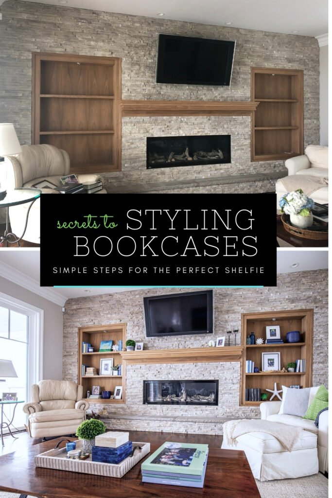 a before and after of a family room bookcases , styling bookcases, bookcase decor ideas, pretty family room fireplace ideas