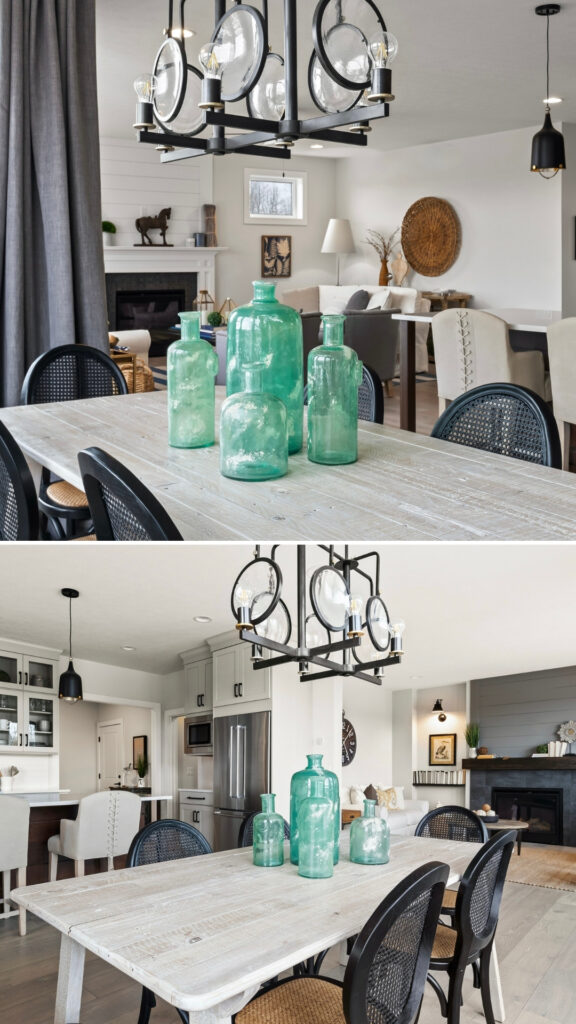progress landree chandelier hangs over a white shed farmhouse table with black matte caned dining chairs