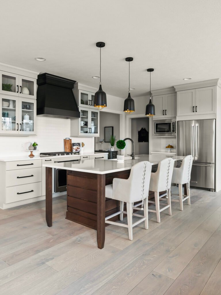 matte black modern farmhouse kitchen hood